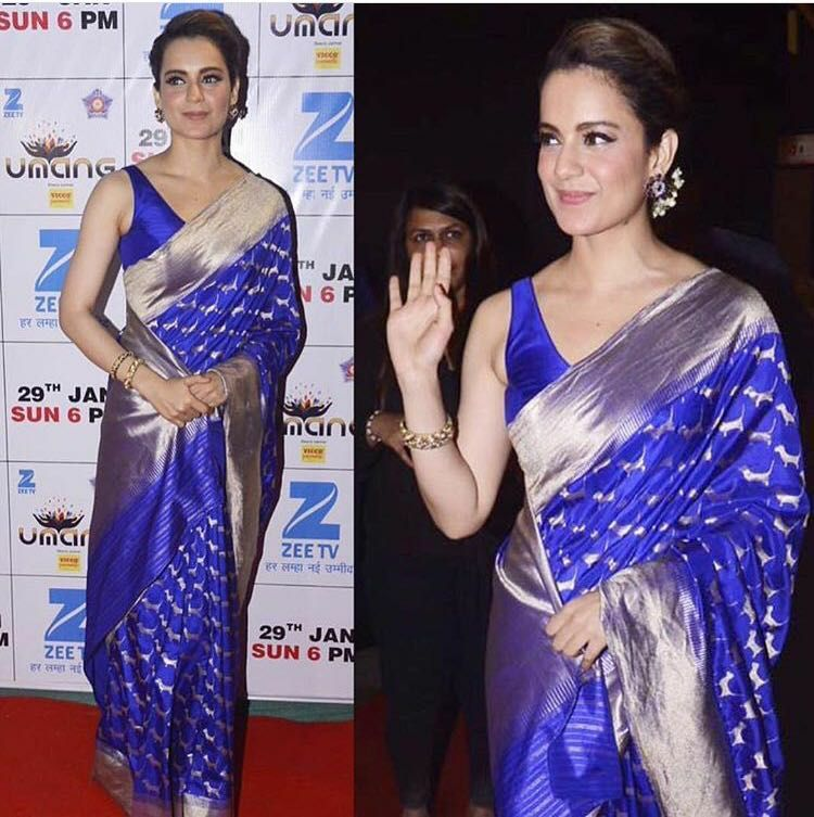Kangana Ranaut in Madhurya creations blue and silver colour saree. 23 January 2017 | Indian wedding outfits, Elegant saree, Saree