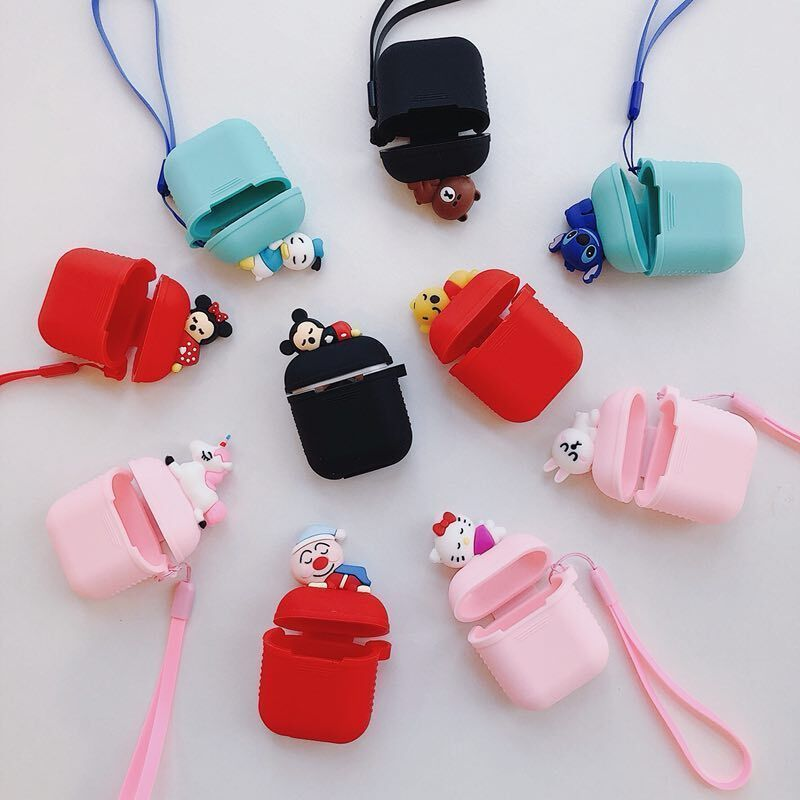 Cute Cartoon Earphone Silicone Charging Case Cover For Apple Airpods Lanyard Bag Earbuds Case Apple Phone Case Case