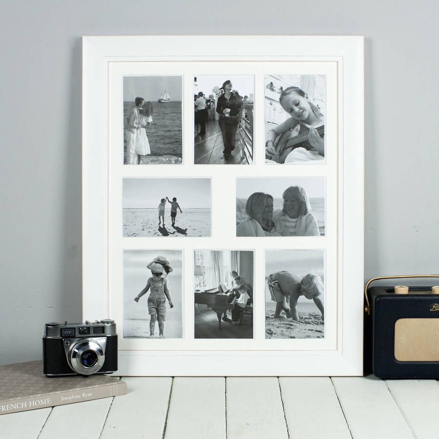 Eight Picture Multi Frame White | Classic picture frames, Wood ...