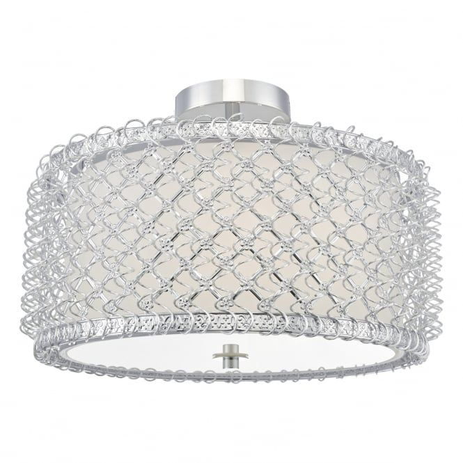 A decorative semi flush ceiling light in a silver finish with opal a decorative semi flush ceiling light in a silver finish with opal glass diffuser and aluminium wire decorative surround this would be great for l aloadofball Choice Image