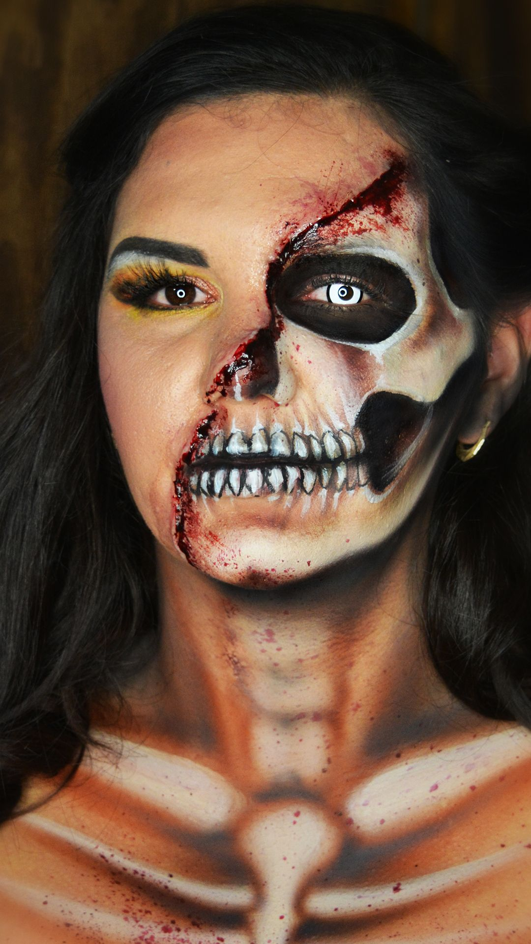 HALF SKULL MAKEUP in 2020 Half skull makeup, Skull