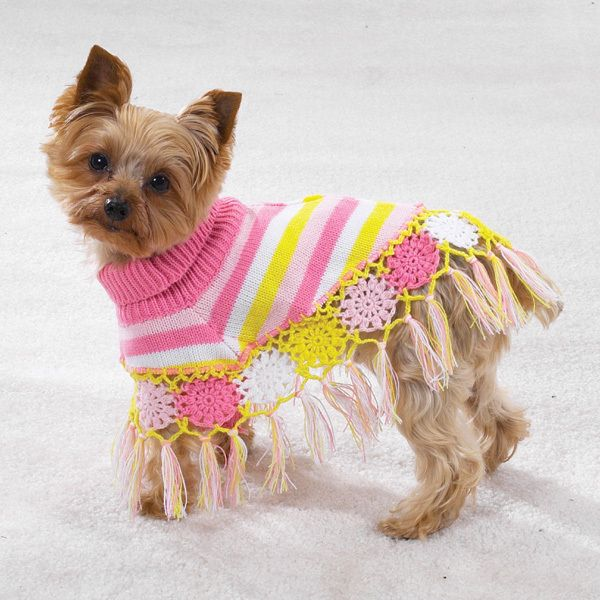 Dog Crocheted Shawl Sweater Clothes Warm Cozy S Small Crochet