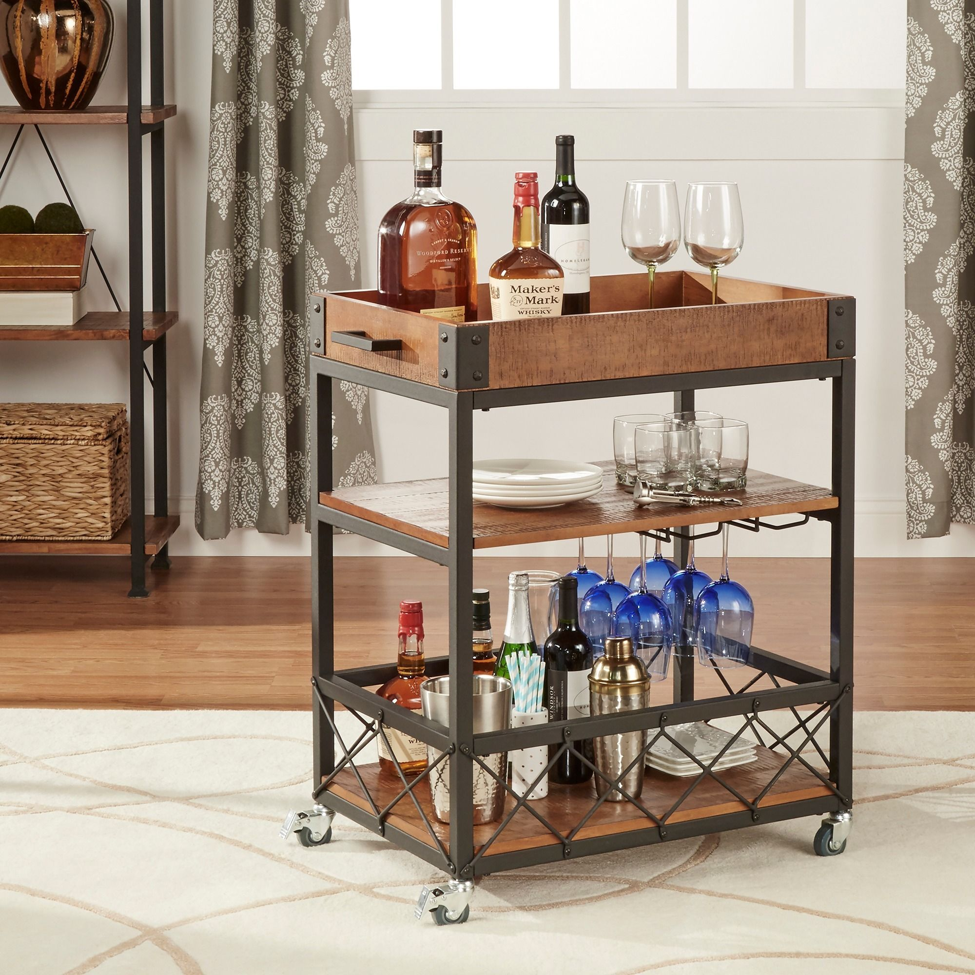 INSPIRE Q Myra Rustic Mobile Kitchen Bar Serving Wine Cart with ...