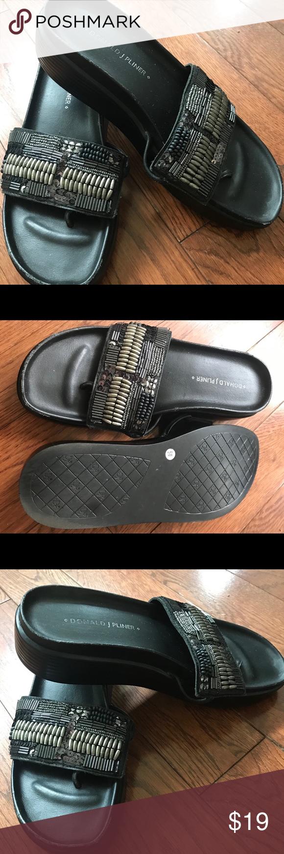 a1ec16612f Donald J Pliner Fifi Slide Sandals Blk Beaded 5.5 Donald J Pliner Fifi  platforms slides sandals, black with beads, size is 5.5, excellent  condition Donald ...
