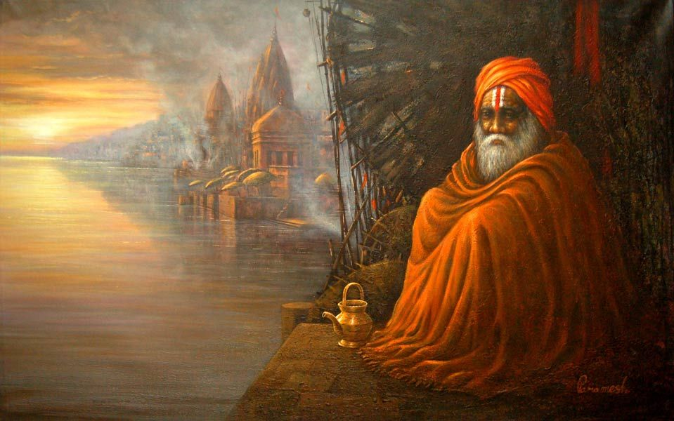 Dolna code: PAP003 Benaras-3 by Paramesh Paul. Acrylic on canvas, 30 x 48 (inches), Price INR 70,000