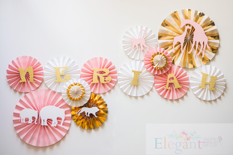 Jungle Pink And Gold Theme Pinwheel Backdroppaper Rosette Backdrop
