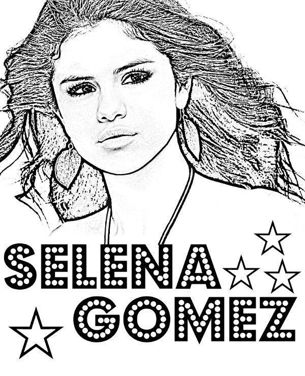 Selena Gomez free printable coloring pages, celebrity