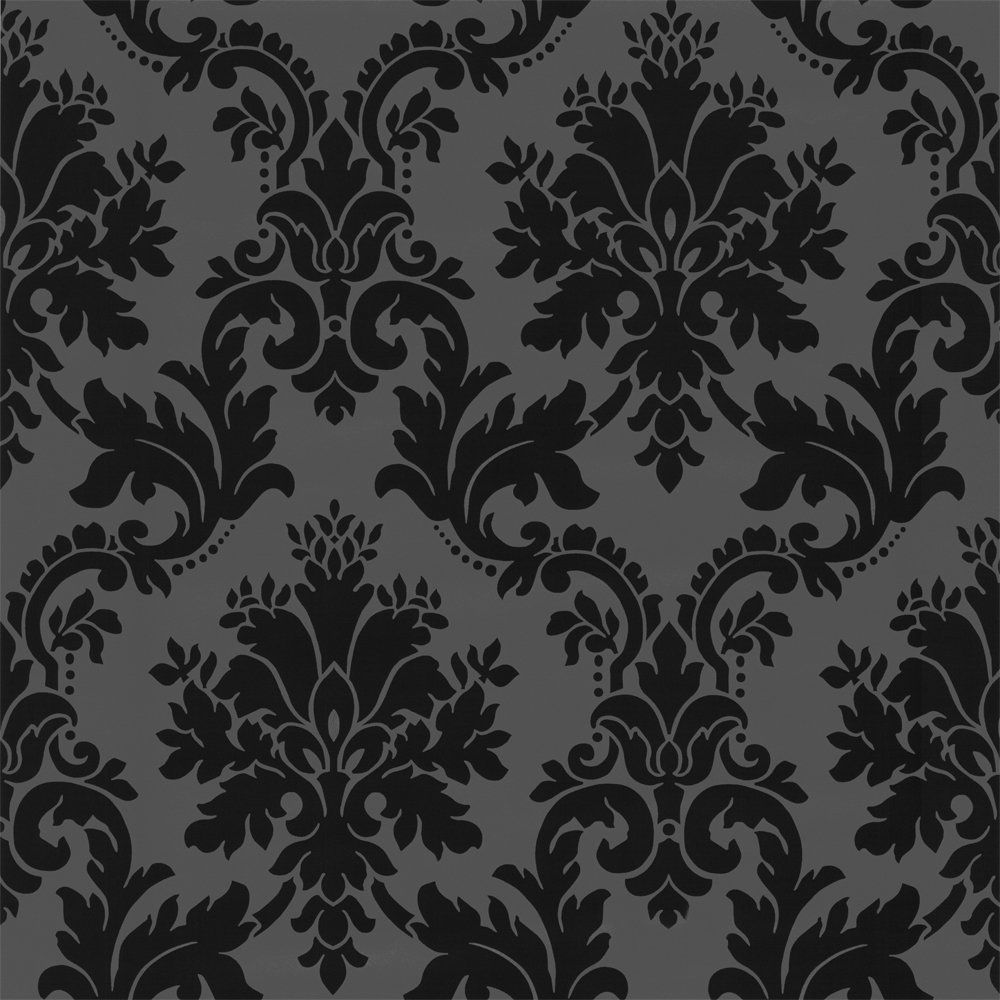Black and grey damask the image kid has it for Black white damask wallpaper mural