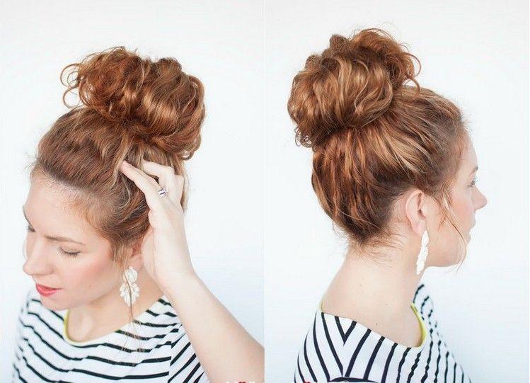 Frisuren Für Naturlocken Dutt Ganz Oben Selber Machen Frisuren