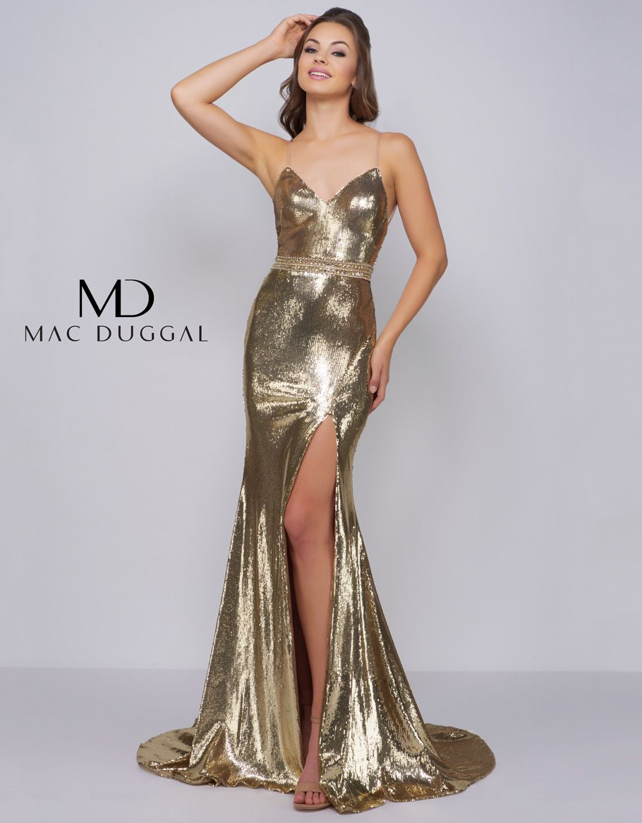 1ea5121128b Sleek and sexy metallic sequin form fitting sheath gown. Beaded waistband  and high leg slit add just the right amount allure. An open back features  ...