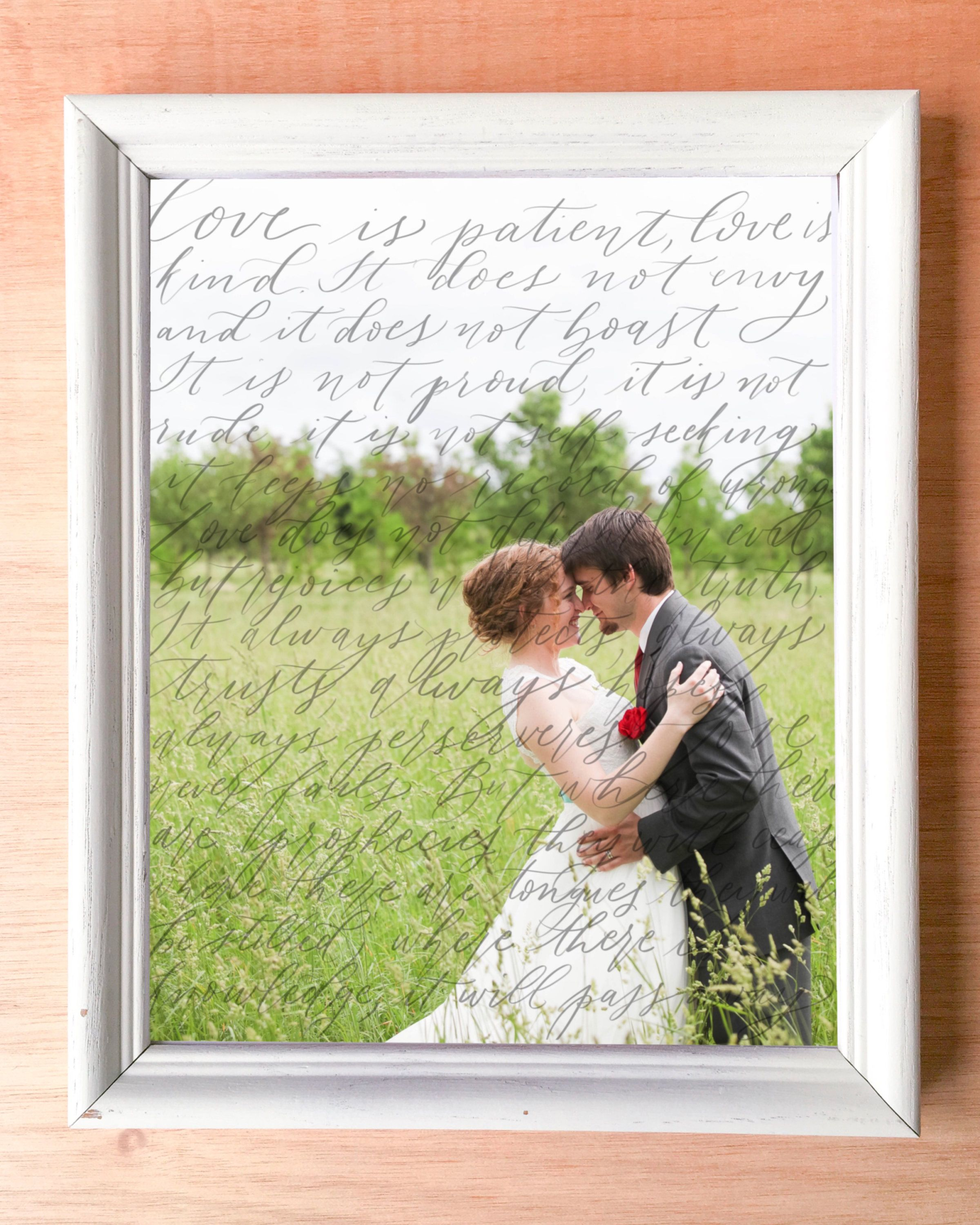 Hand Lettered Wedding Vows On Photo, Calligraphy Vows