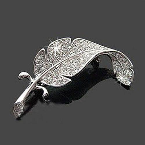 여성의 패션 잎 실버 톤 라인 석 크리스탈 웨딩 선물 브로치 핀 88E5