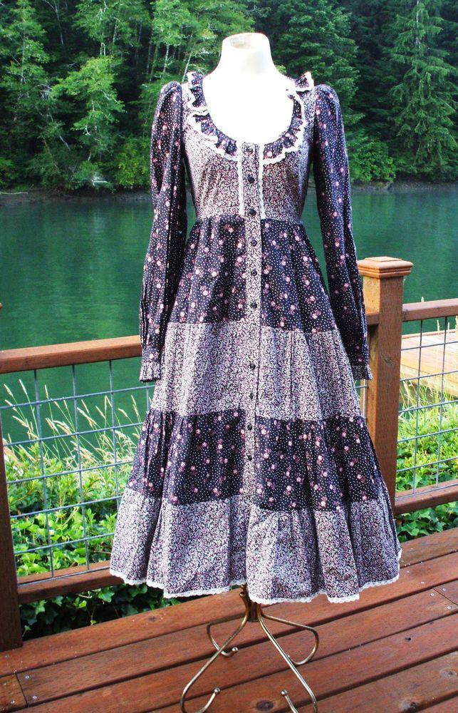 Vintage 70 S Gunne Sax Dress Black Calico Floral Boho