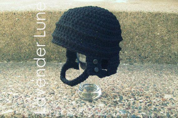 PDF CROCHET PATTERN: The Hockey Helmet, Photo Prop. Earflap Hat ...