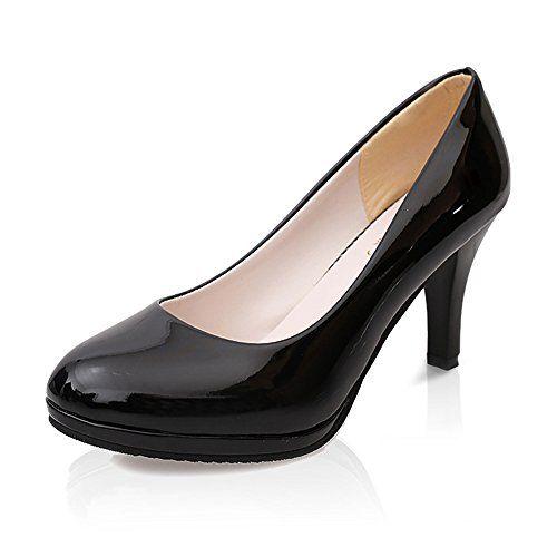 eca2831c07c Meeshine Womens Classic Mid Heel Pointy Toe Black Leather Platform Dress  Pumps 8 BM US