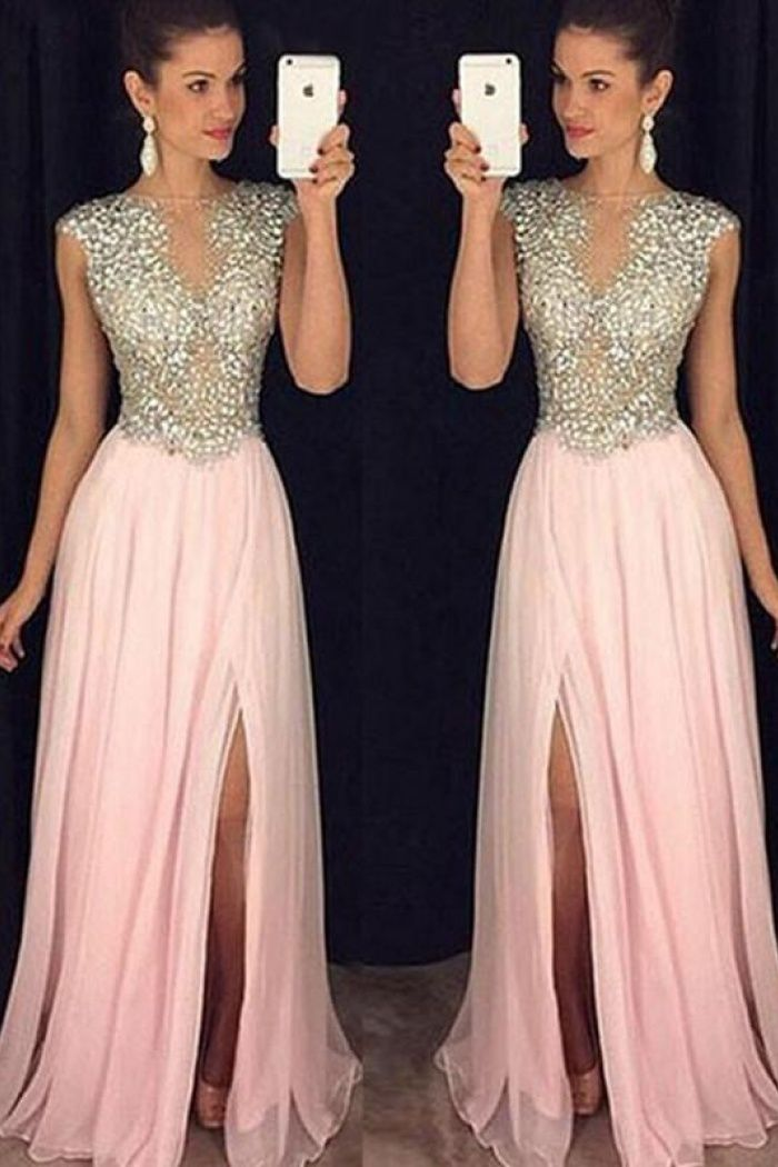 Round Neck Sleeveless Pink Prom Dress With Beading | Sexy Prom ...