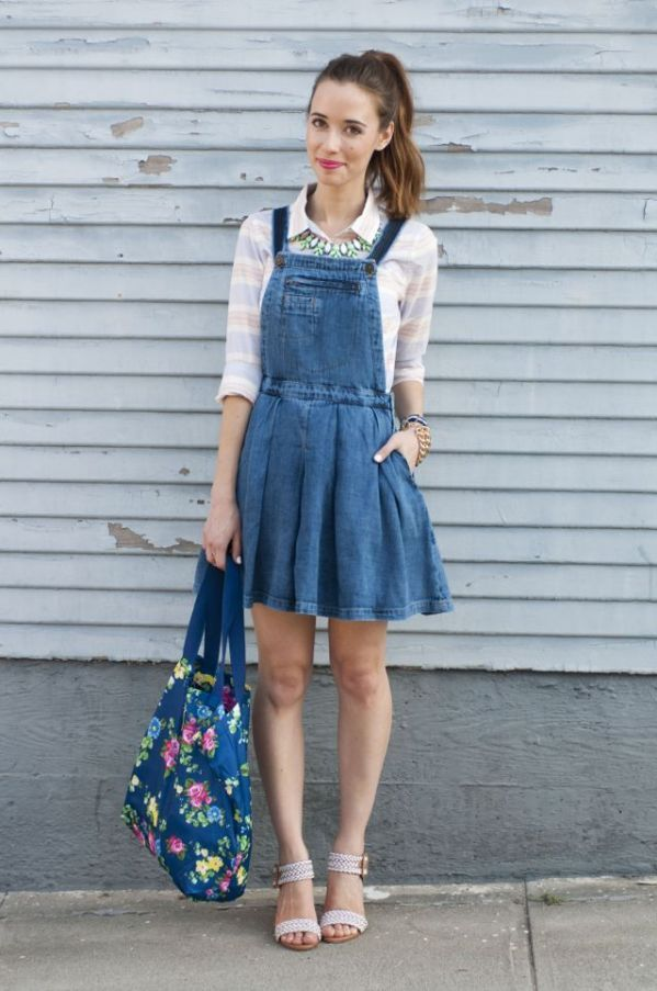 76434732b58 Denim overall skater dress