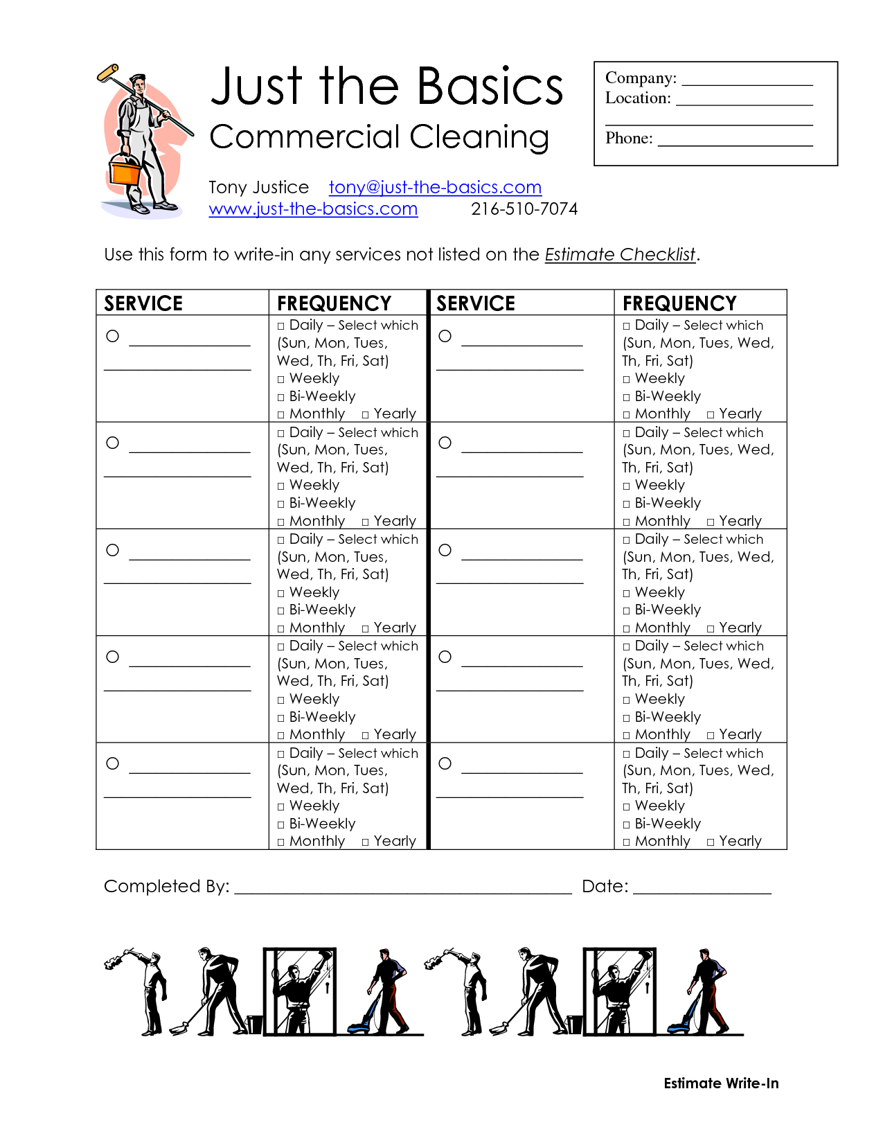 Commercial Cleaning Checklist Printable | DIY Cleaning Supplies ...