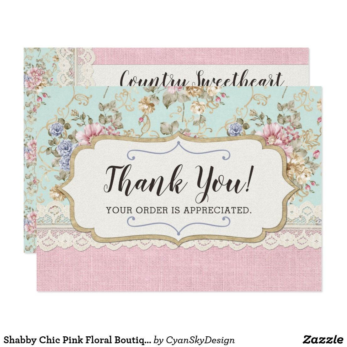 Shabby Chic Pink Floral Boutique Thank You Card Zazzle Com With