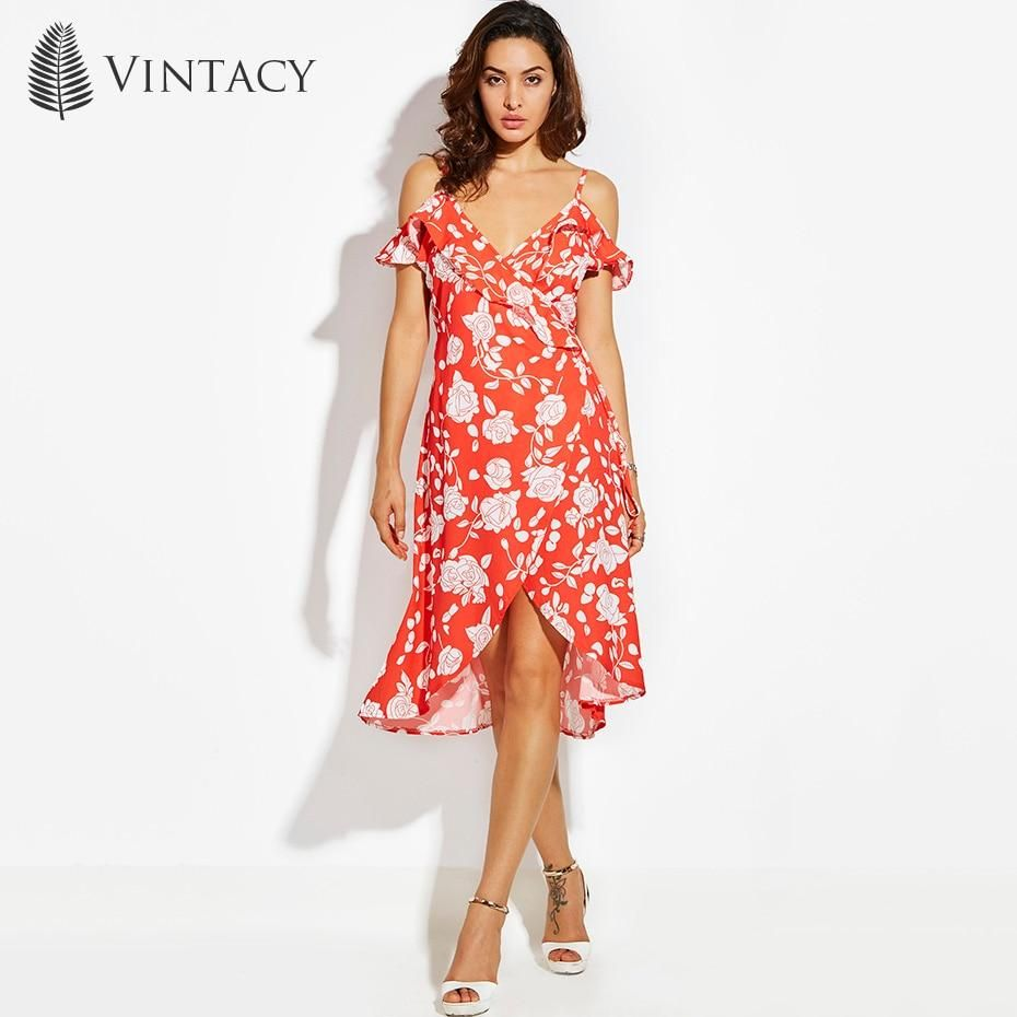 59490ba450 Vintacy Ruffle Cold Shoulder Sexy Dress Women Strap V Neck Wrap Lace U –  KOREAIDOLFEVER