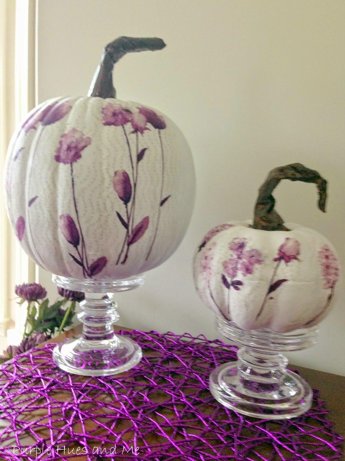Decoupage Paper Napkins on Pumpkins Using Plastic Wrap