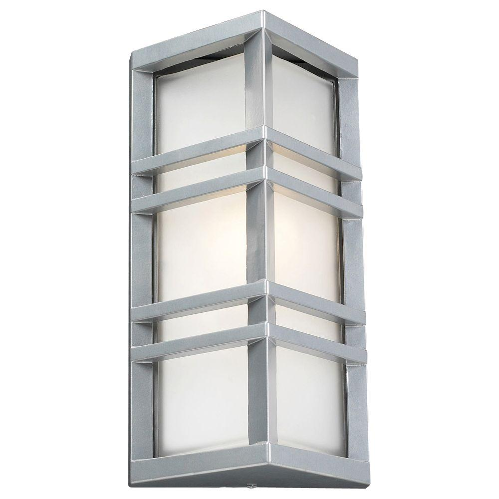 Plc Lighting 1 Light Outdoor Silver Wall Sconce With Frost Glass Cli Hd8020sl The Home Depot Outdoor Wall Lighting Plc Lighting Outdoor Wall Lantern