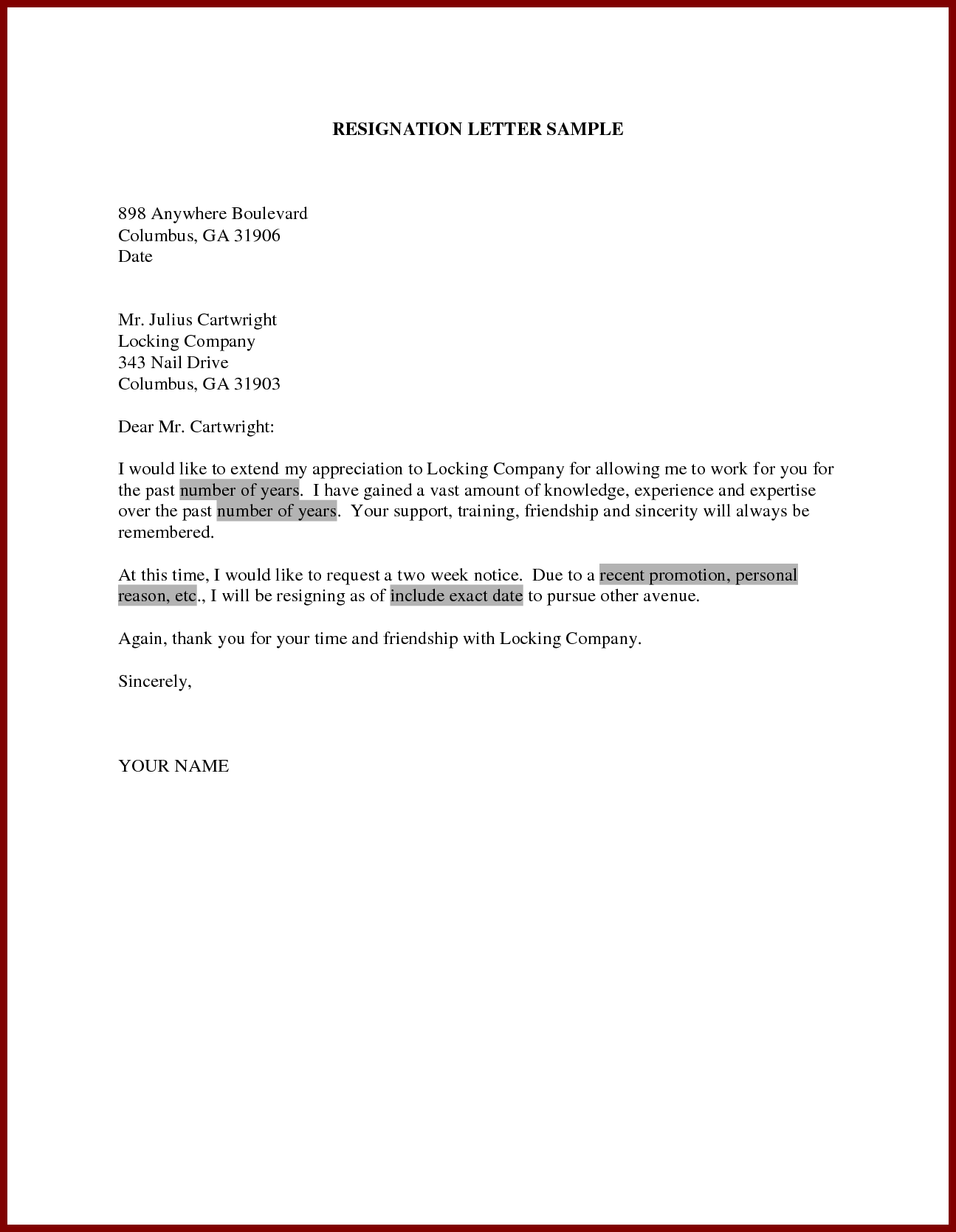 Resignation Letter Sample Resignation Email Sample Resignation Template Resignation Example How To Write