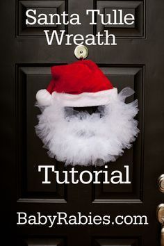 Santa Tulle Wreath Tutorial #crafts #DIY. Very easy to make and how cute!!