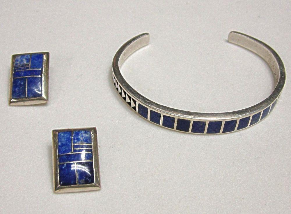 Navajo Teme Sterling Lapis Bracelet Earrings Native American