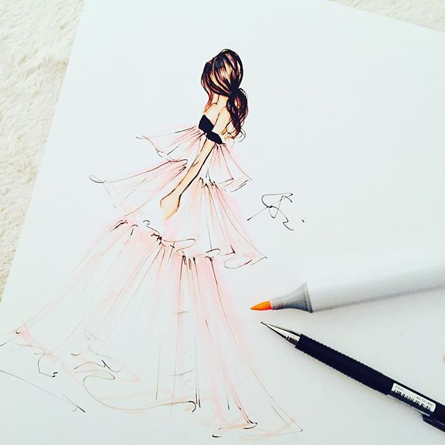 Late night illustrating this gorgeous @giambattistapr gown #fashionillustration #instaartist #instaart #melsysillustrations #melsys #illustration #copicmarker #copicart #bostonblogger #bostonillustrator #hair #dress #pink #tullesday #love #pfw #pfw16 #paper