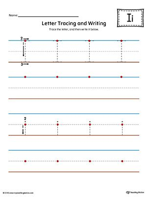Letter I Tracing and Writing Printable Worksheet (Color