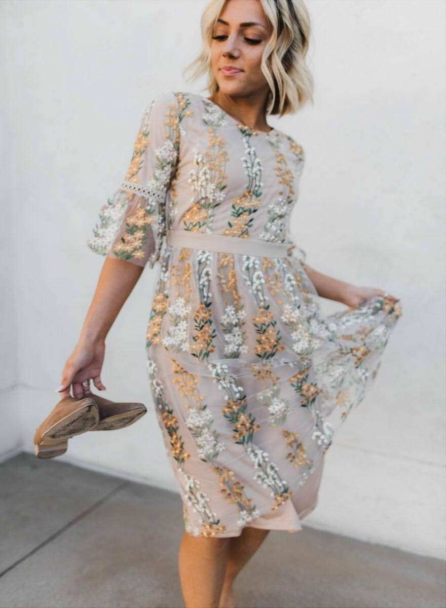 The Full Bloom Embroidered Floral Dress Embroidered Dress Midi Ruffle Dress Floral Wrap Maxi Dress [ 1200 x 880 Pixel ]