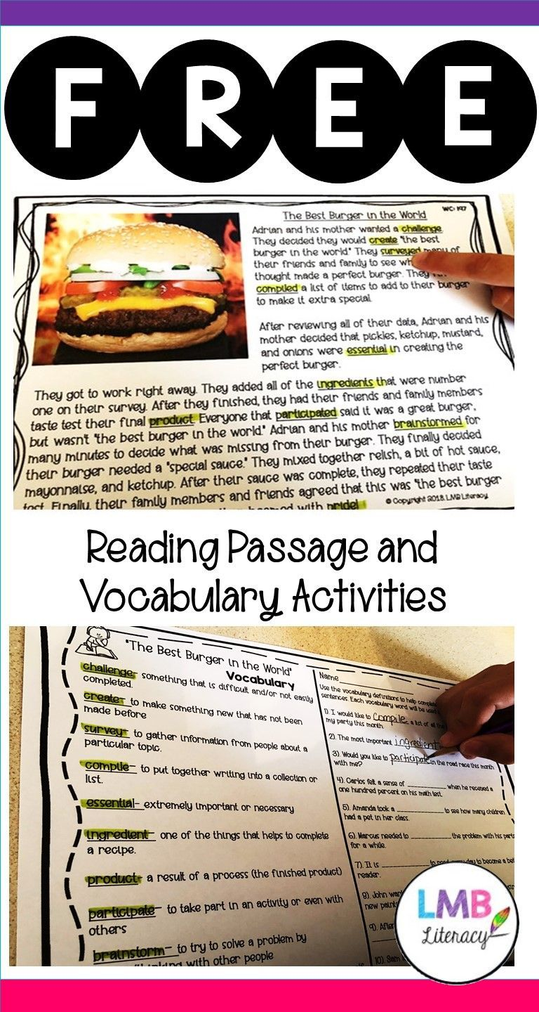 FREE SAMPLE: Vocabulary in Context-Reading Passage, Vocabulary ...