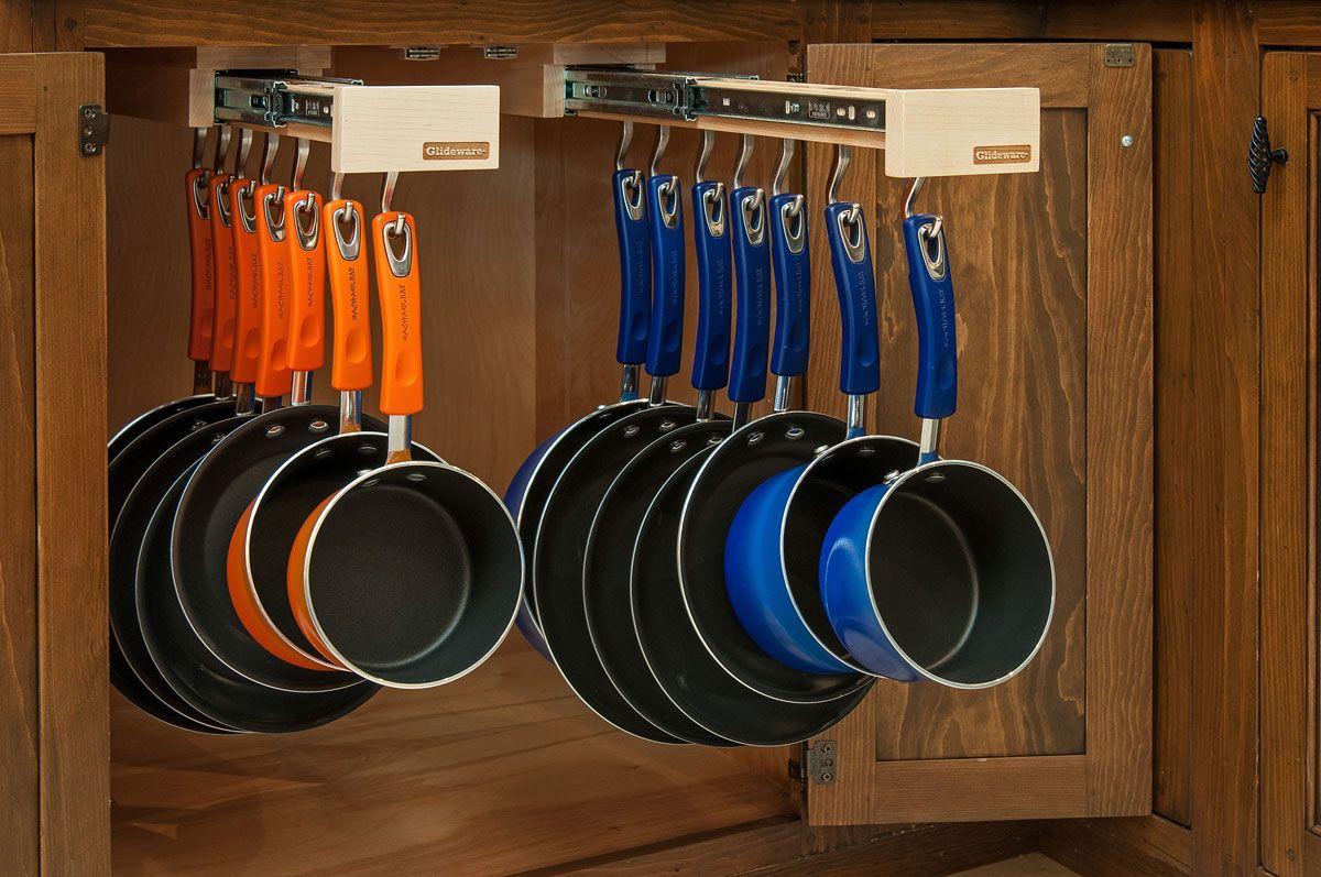 Glideware dual double pull out kitchen cabinet organizer for pots pans lids in home garden kitchen dining bar kitchen storage organization