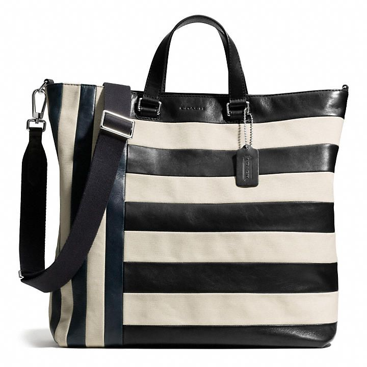 Coach  BLEECKER DAY TOTE IN MIXED BAR STRIPE LEATHER