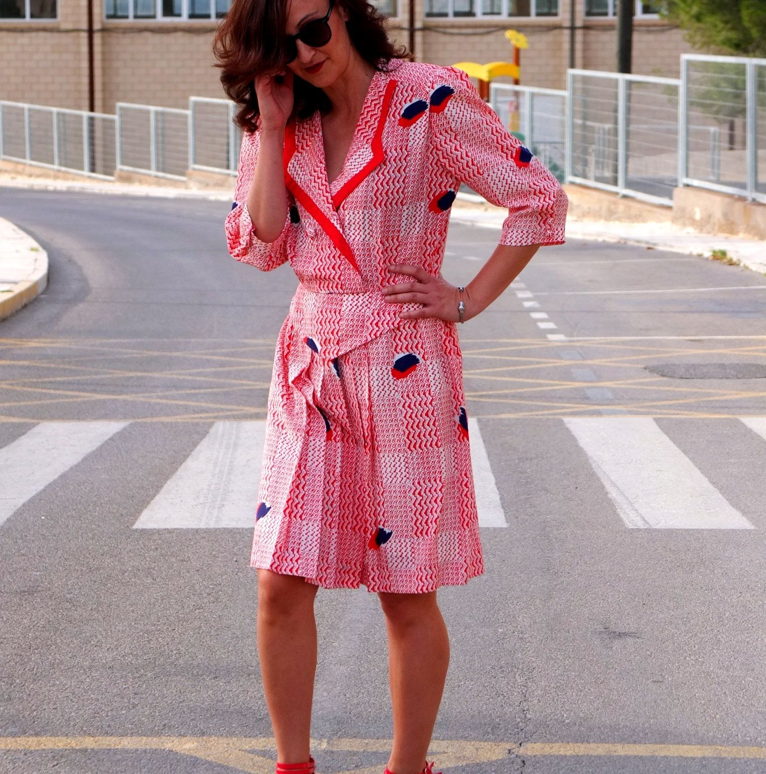 80s Red Plaid Secretary Style Vintage Dress