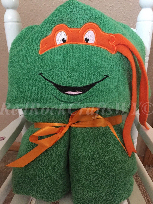 Teenage Mutant Ninja Turtle Hooded Towel - TMNT - Hooded Towel - Towel by RedRockCraftsWY on Etsy https://www.etsy.com/listing/232975066/teenage-mutant-ninja-turtle-hooded-towel