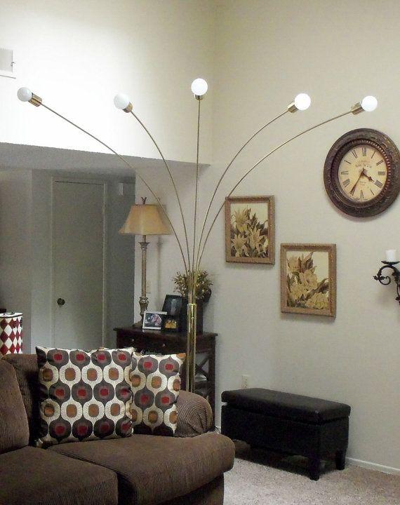 Brass arc light floor lamp lighting sofa original atomic gold cosmic mid century modern furniture vintage painted home decor brass a