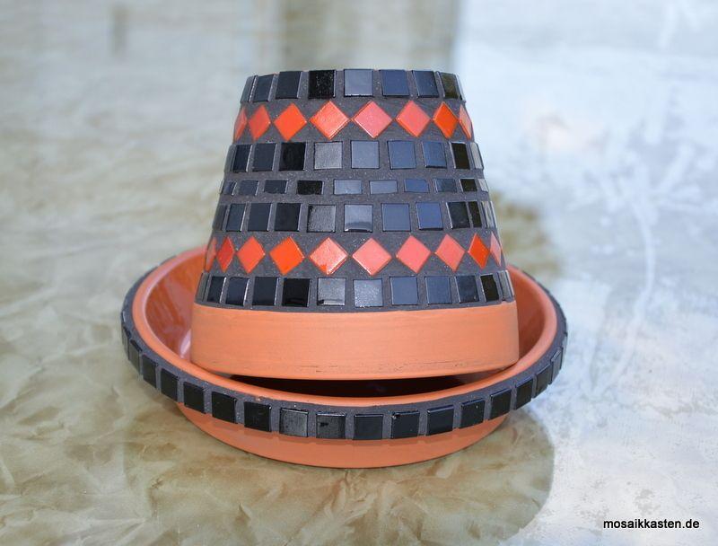 Aschenbecher blumentopf schwarz rot mosaikkasten for Blumentopf rot