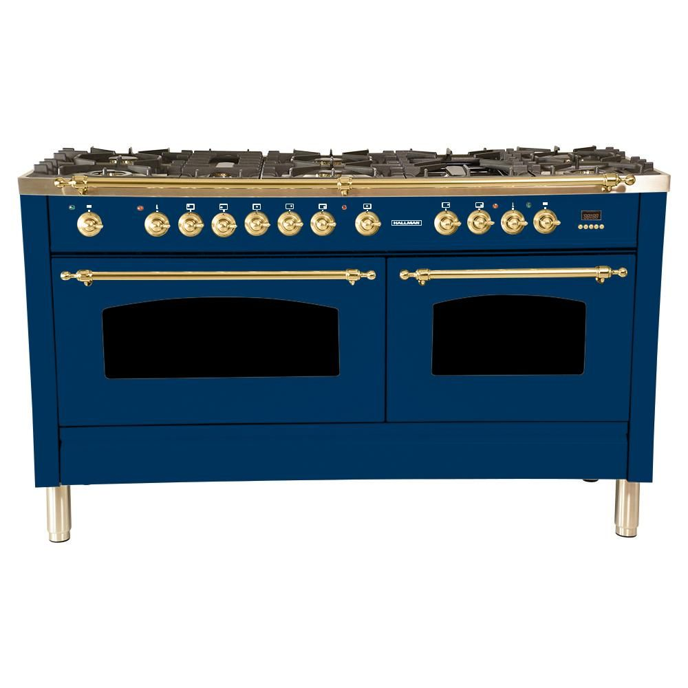 Hallman 60 In 6 Cu Ft Double Oven Dual Fuel Italian Range With True Convection 8 Burners Griddle Brass Tr Double Oven Convection Kitchen Large Appliances