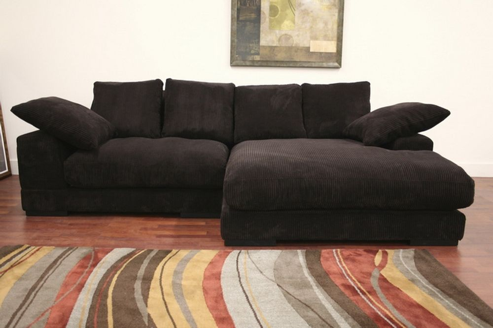Panos Brown Fabric Sectional Sofa With Pillows | Affordable Modern Furniture  In Chicago