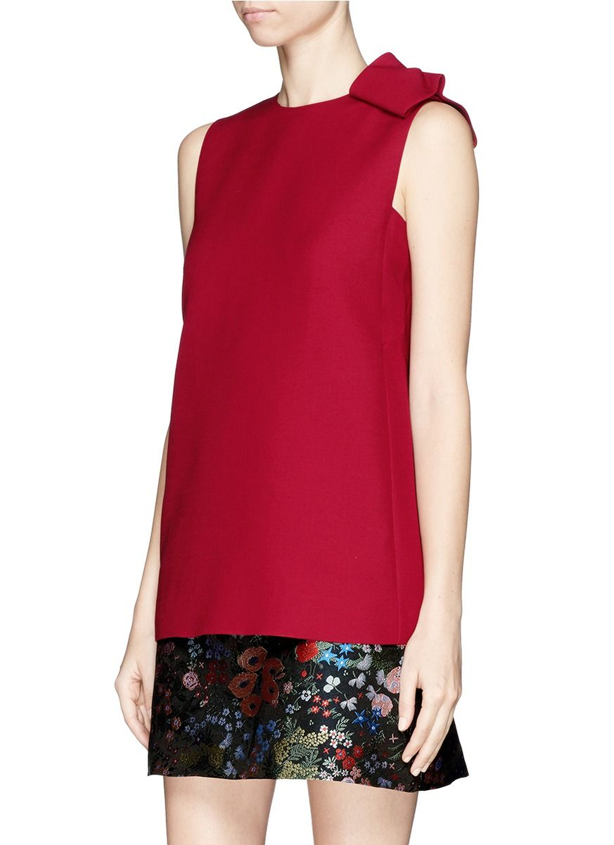 05e3915d1714 Valentino Asymmetric Bow Wool-silk Crepe Couture Top in Red | Lyst ...
