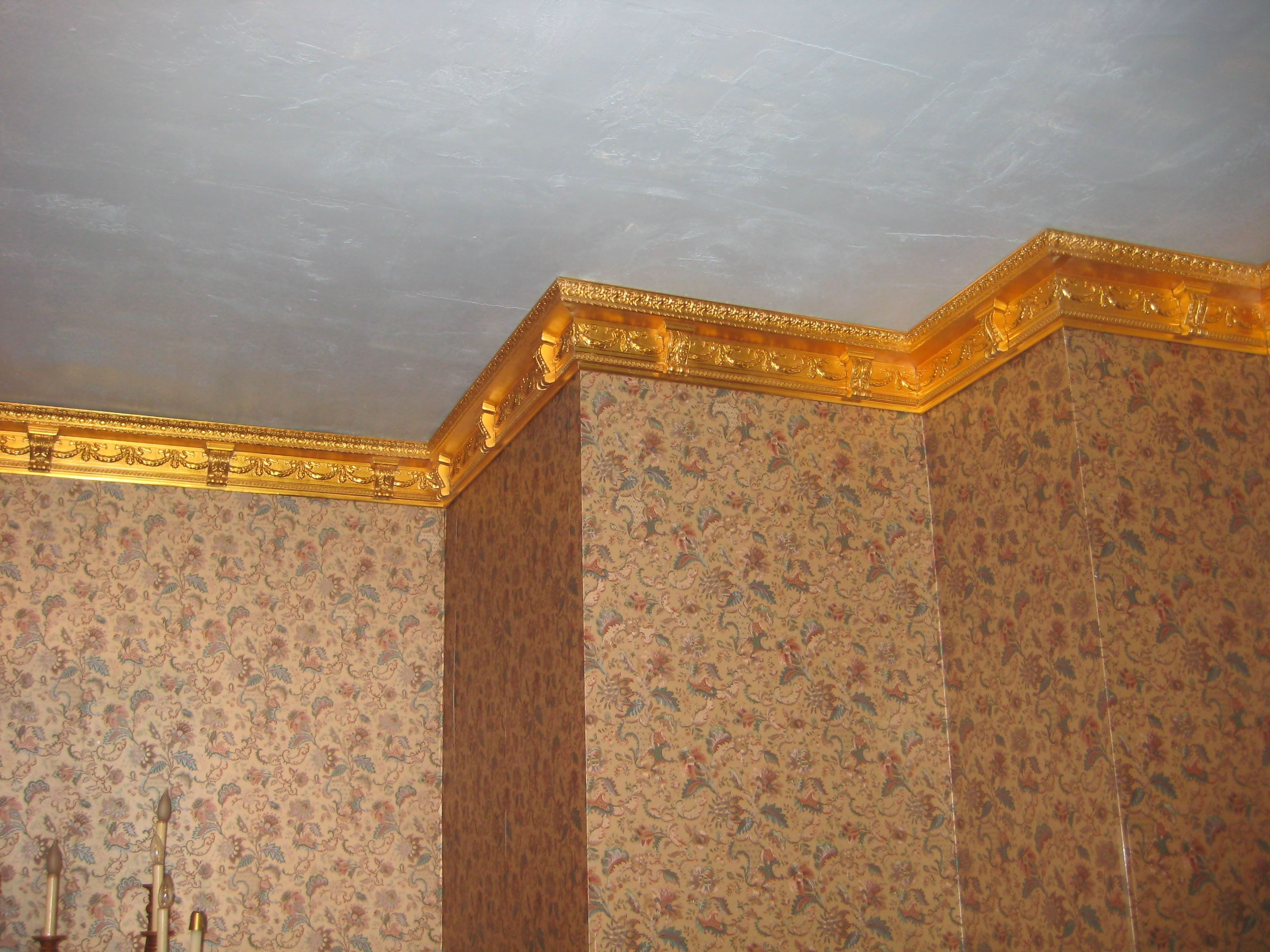 Golden Elaborate Crown Molding Crown Molding Elaborate Crown