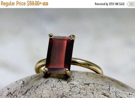 VALENTINES DAY SALE Gold rectangle ring Garnet ring January