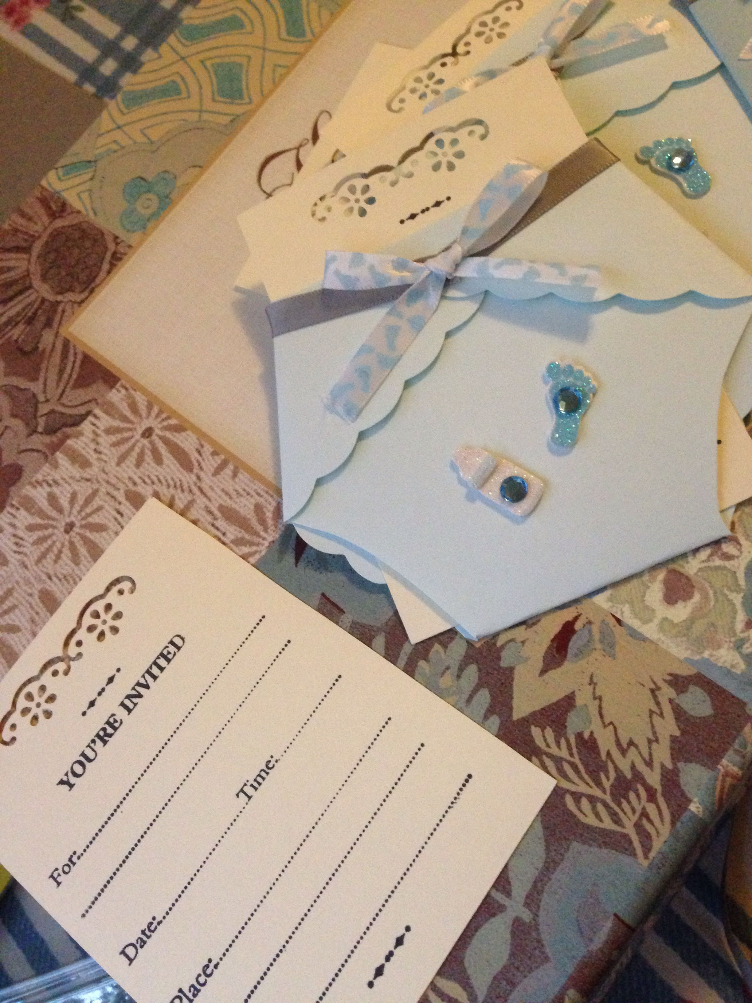 Baby Shower Invitation Diy Done With A Your Invited Stamp From Michaels And Diaper Template Ribbons Stickers To Add Some Touch It Easy