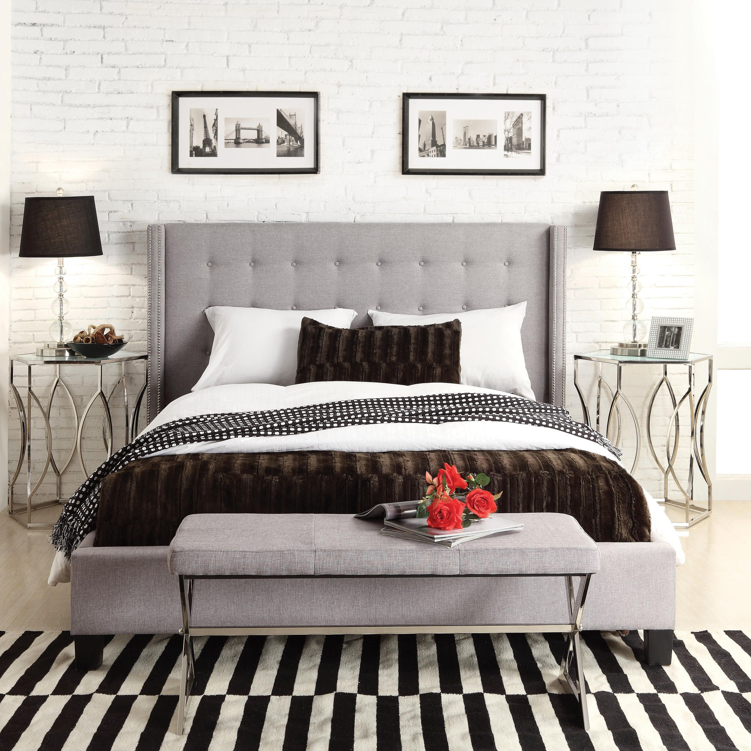 furniture bed linen button wingback king new tufted design charcoal skyline of in grey nail