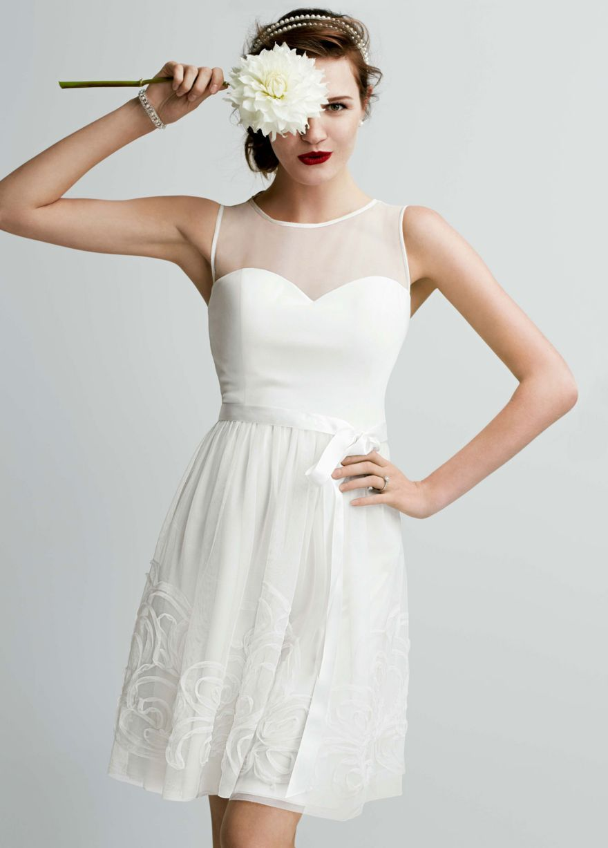 Short Mesh Dress With Illusion Sweetheart Bodice David S Bridal I Think Ve Found It