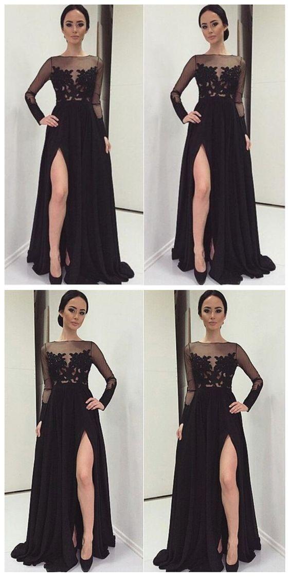 black prom dresses, 2018 Long prom dresses, long prom dresses, prom ...