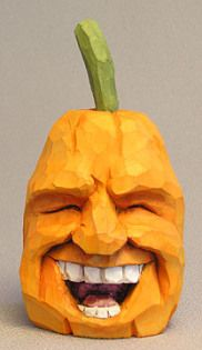 Laughing Pumpkin Woodcarving - Carved by Russell Scott at ScottCarvings.com