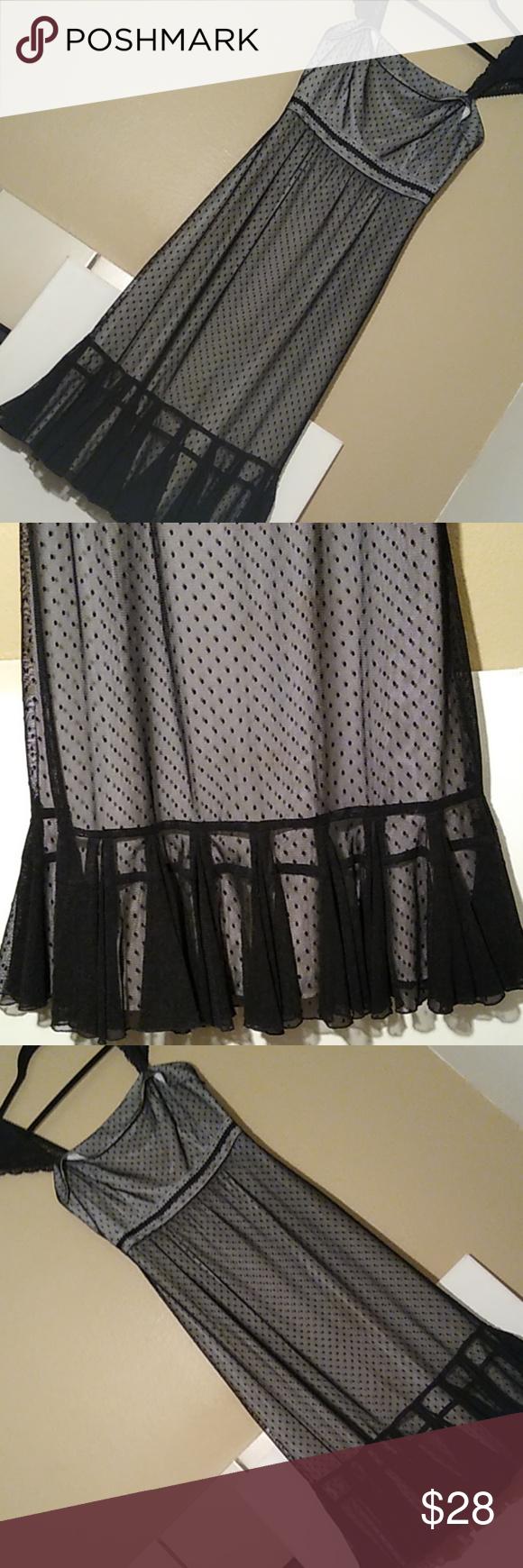 Dust Ruffle Loft Dress Ann Taylor Loft Dress In Excellent Condition Very Cute Black Chiffon Overlay With A Ruf Loft Dress Ann Taylor Loft Dresses Dust Ruffle